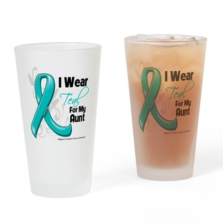 I Wear Teal Aunt Ovarian Cancer Drinking Glass