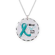 I Wear Teal Aunt Ovarian Cancer Necklace