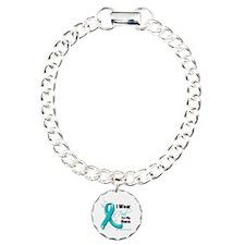 I Wear Teal Nana Ovarian Cancer Charm Bracelet, On