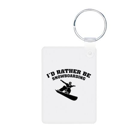 I'd rather be snowboarding Aluminum Photo Keychain