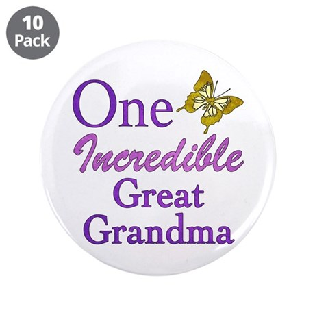 """One Incredible Great Grandma 3.5"""" Button (10 pack)"""