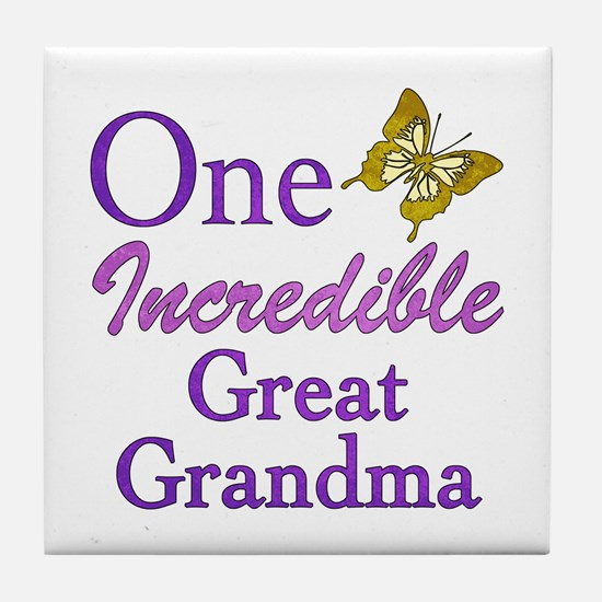 One Incredible Great Grandma Tile Coaster