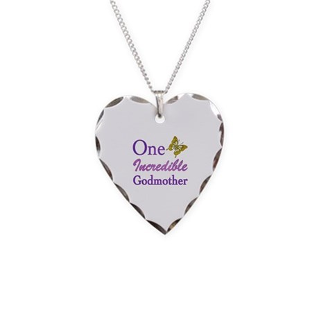 One Incredible Godmother Necklace Heart Charm