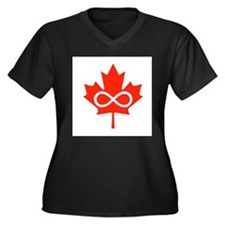 Canadian Metis Flag Women's Plus Size V-Neck Dark