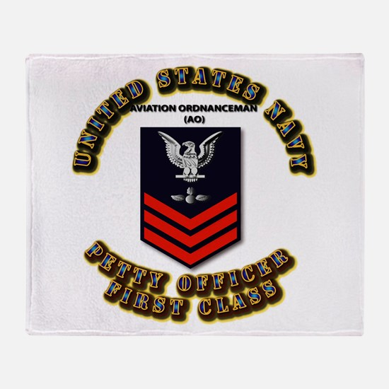US Navy - AO with text Throw Blanket