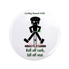 """Cycling Hazard Fall Off Seat 3.5"""" Button"""