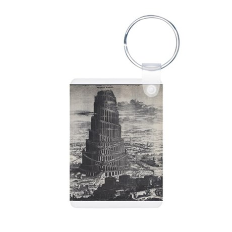 Ancient Tower of Babel Aluminum Photo Keychain