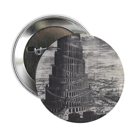 """Ancient Tower of Babel 2.25"""" Button"""