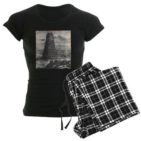 Ancient Tower of Babel Women's Dark Pajamas