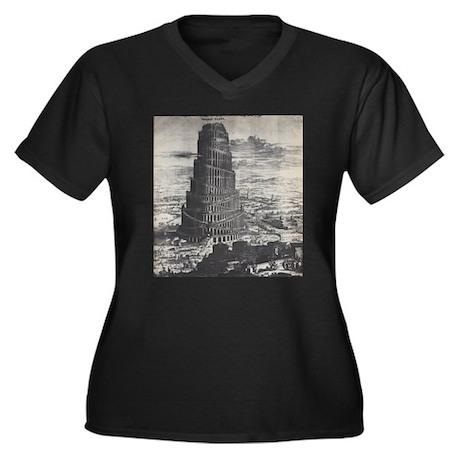 Ancient Tower of Babel Women's Plus Size V-Neck Da