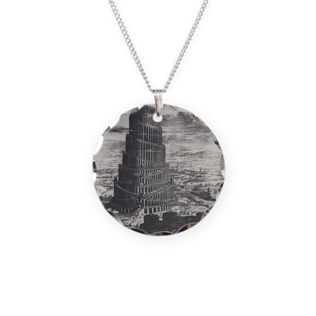 Ancient Tower of Babel Necklace Circle Charm
