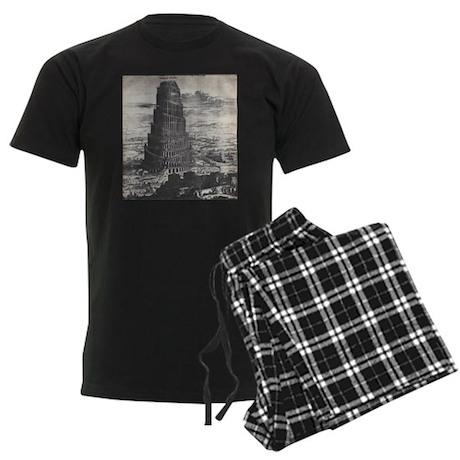Ancient Tower of Babel Men's Dark Pajamas