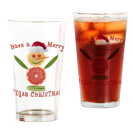 Merry Vegan Christmas Drinking Glass