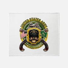 US Army MP Skull Cross Pistol Throw Blanket