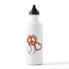Peace, Love & Baseball Water Bottle