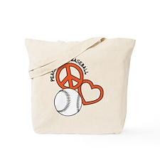 Peace, Love & Baseball Tote Bag
