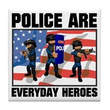 Police are Heroes Tile Coaster