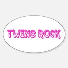 Pink Twins Rock Oval Decal