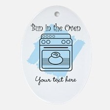 Bun in the Oven (blue) Ornament (Oval)