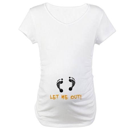 Footprints Let Me Out Maternity T-Shirt