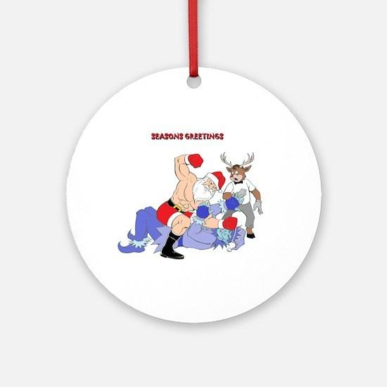 MMA-Santa Vs Jack Frost Ornament (Round)
