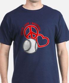 Peace, Love & Baseball T-Shirt
