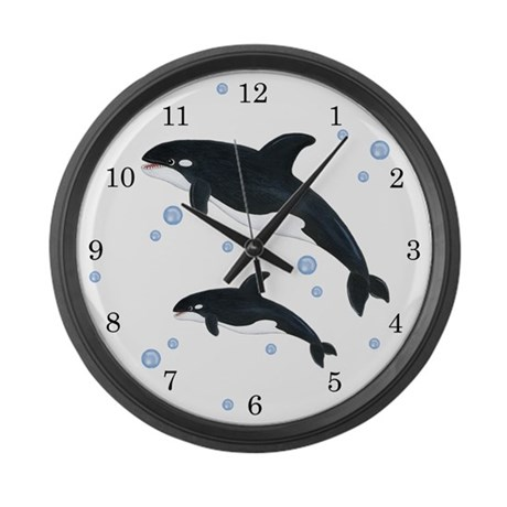 Orca Whale LARGE Wall Clock