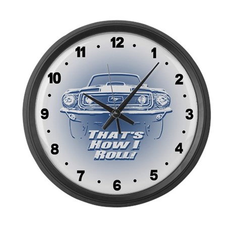 How I Roll - Mustang Boss Large Wall Clock