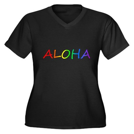 Aloha Women's Plus Size V-Neck Dark T-Shirt