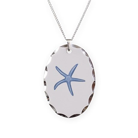 Blue Starfish Necklace Oval Charm
