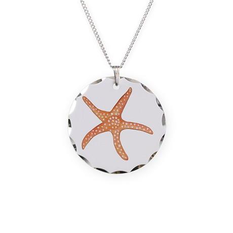 Orange Starfish Necklace Circle Charm