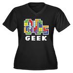 80s Geek Women's Plus Size V-Neck Dark T-Shirt