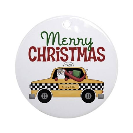 Christmas Taxi Driver Ornament (Round)