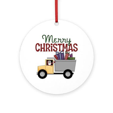Dump Truck Christmas Ornament (Round)