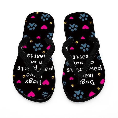 Dogs Leave Paw Prints Flip Flops