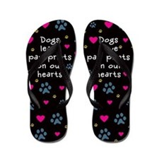Dogs Leave Paw Prints Flip Flops