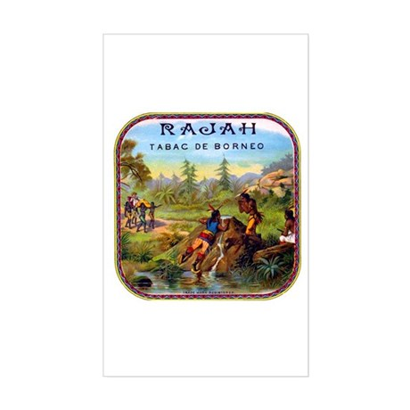 Rajah Cigar Label Sticker (Rectangle)