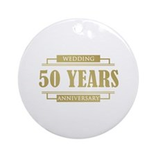 Stylish 50th Wedding Anniversary Ornament (Round)