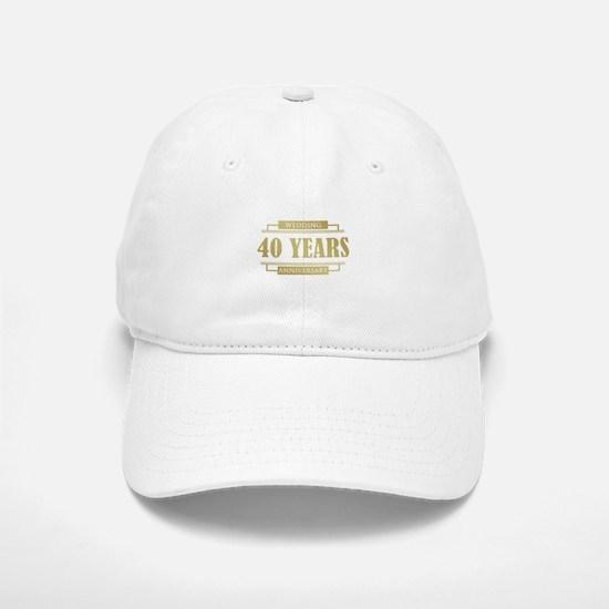 Stylish 40th Wedding Anniversary Baseball Baseball Cap