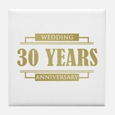 Stylish 30th Wedding Anniversary Tile Coaster