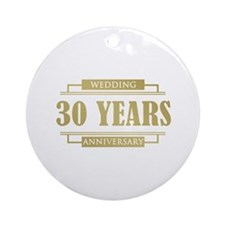 Stylish 30th Wedding Anniversary Ornament (Round)