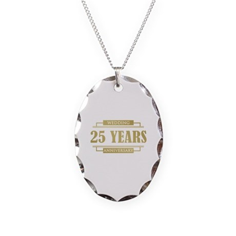 Stylish 25th Wedding Anniversary Necklace Oval Cha