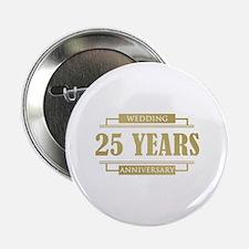 "Stylish 25th Wedding Anniversary 2.25"" Button (10"