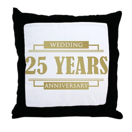 Stylish 25th Wedding Anniversary Throw Pillow
