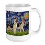 Starry / 2 German Shepherds Large Mug