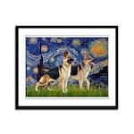 Starry / 2 German Shepherds Framed Panel Print