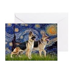 Starry / 2 German Shepherds Greeting Card