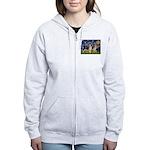 Starry / 2 German Shepherds Women's Zip Hoodie