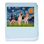 Starry / 2 German Shepherds baby blanket