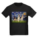 Starry / 2 German Shepherds Kids Dark T-Shirt